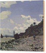 Beach At Honfleur Wood Print
