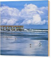 Beach At Isle Of Palms Wood Print