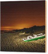 Beach At Night Wood Print