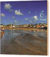 Beach At Perranporth Wood Print