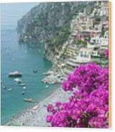 Beach At Positano Wood Print
