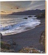 Beach At Sunset Wood Print