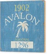 Beach Badge Avalon Wood Print