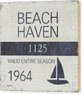 Beach Badge Beach Haven Wood Print