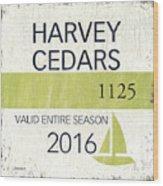 Beach Badge Harvey Cedars Wood Print