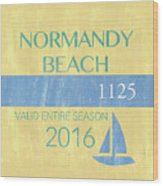 Beach Badge Normandy Beach 2 Wood Print