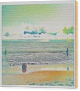 Beach Ball And Swimmers Wood Print
