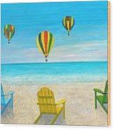 Beach Balloon Festival Wood Print