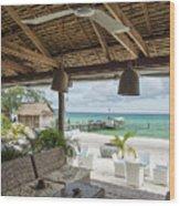 Beach Bar In Sok San Area Of Koh Rong Island Cambodia Wood Print