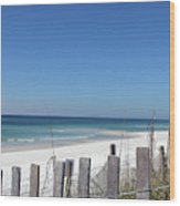 Beach Behind The Fence Wood Print