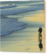 Beach Biker Wood Print