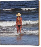 Beach Blonde - Digital Art Wood Print