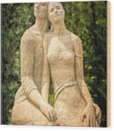 Beach Buddies Blue Water Sand Sculpture Wood Print