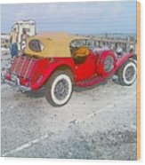 Beach Car Wood Print