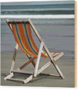 Beach Chair And Ocean Stripes Wood Print