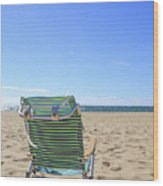 Beach Chair On A Sandy Beach Wood Print