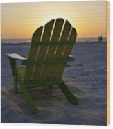 Beach Chair Sunset Wood Print