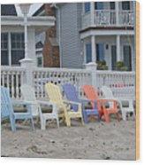 Beach Chairs - Awaiting Summer Wood Print