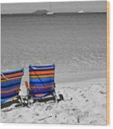 Beach Chairs 2  Wood Print