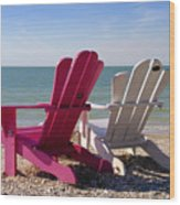 Beach Chairs Wood Print
