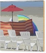 Beach Chairs Wood Print by Lori Seaman