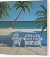 Beach Chairs No. 1 Wood Print