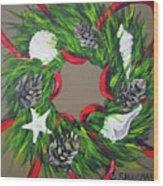 Beach Christmas Wreath Wood Print