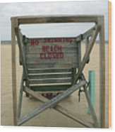 Beach Closed Wood Print