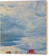 Beach Clouds Wood Print
