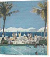 Beach Club Wood Print