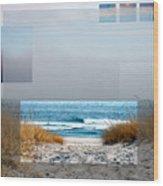 Beach Collage Wood Print