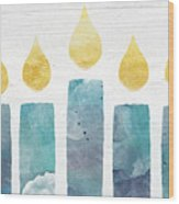 Beach Colors Menorah- Art By Linda Woods Wood Print