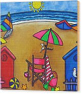 Beach Colours Wood Print