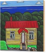 Beach Cottage Wood Print