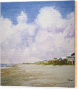 Beach Cottages Wood Print