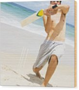 Beach Cricket Slog Wood Print