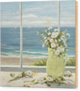 Beach Daisies In Yellow Vase Wood Print