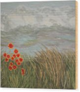 Beach Daisies On Dune Wood Print