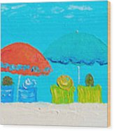 Beach Decor - Umbrellas Panorama Wood Print