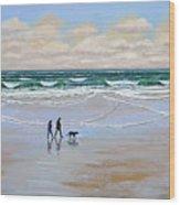 Beach Dog Walk Wood Print by Frank Wilson