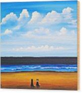 Beach Dogs Wood Print