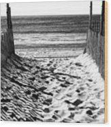 Beach Entry Black And White Wood Print