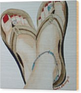 Beach Feet Wood Print
