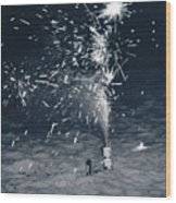 Beach Fire Works Wood Print