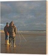 Beach Fishing Wood Print