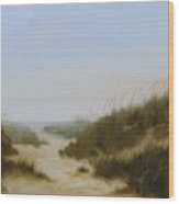 Beach Fog Wood Print