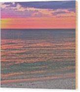 Beach Girl And Sunset Wood Print