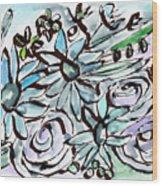 Beach Glass Flowers 2- Art By Linda Woods Wood Print