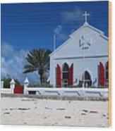 Beach Grand Turk Church Wood Print