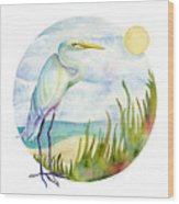 Beach Heron Wood Print